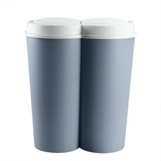 Double poubelle 2 x 25L bleu Poubelle duo bouton-poussoir automatique 50 x 53 cm