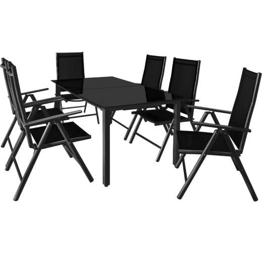 Salon de jardin Bern 7 pièces Anthracite noir Ensemble table chaises en alu