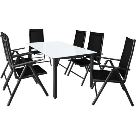 Salon de jardin aluminium anthracite »Bern« 1 table 6 chaises pliantes verre
