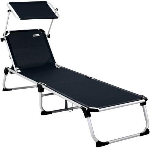 Chaise longue Malta noire pliable avec pare-soleil