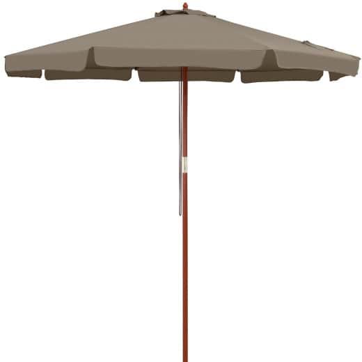 Sonnenschirm Taupe Holz Ø330cm UV-Schutz 50+