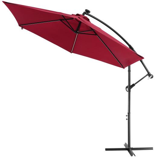 Parasol en aluminium 330cm rouge Mali avec LED