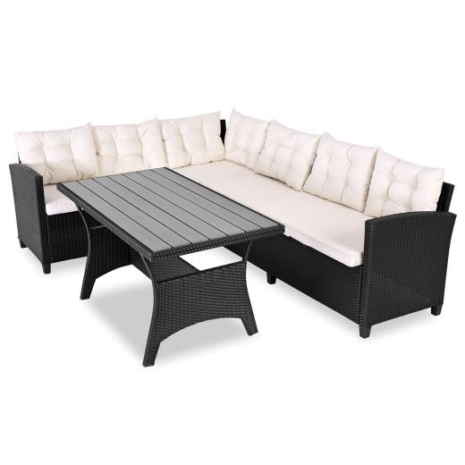 Polyrattan Lounge-Set Schwarz WPC Tischplatte