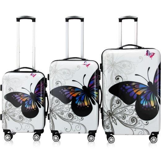 Lot 3 valises Butterfly renforcées avec verrou - roulettes 360°