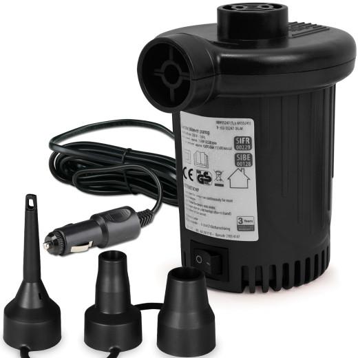 Pompe à air électrique 12V 90W 580l/min 3 embouts matelas animaux piscine bouée