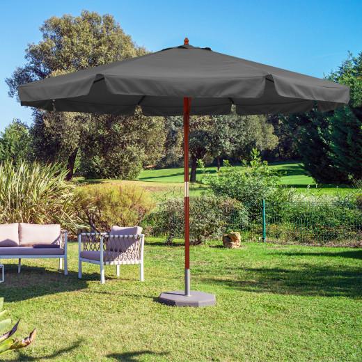 Parasol en bois 330 cm protection UV 50+ Anthracite