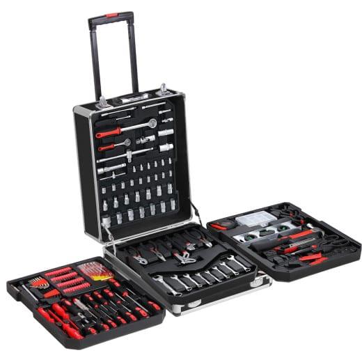 Valise à outils roulante en aluminium Poignée télescopique 899 pièces