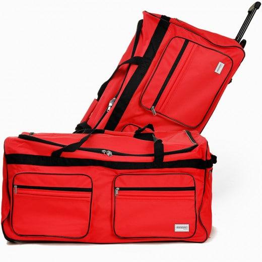 Grand sac de voyage XXL trolley 160L avec 3 roulettes - Rouge - 85 x 43 x 44 cm