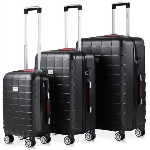 Set de 3 valises rigides noir voyages rangement bagages vacances serrure