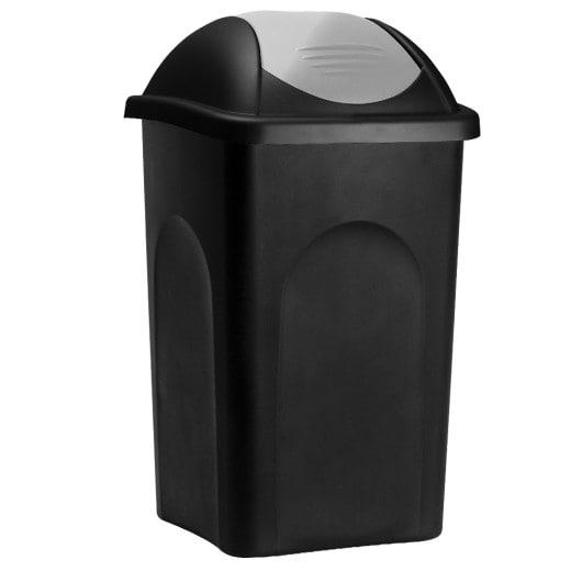 Mülleimer in schwarz/silber aus Kunststoff mit 60L Volumen