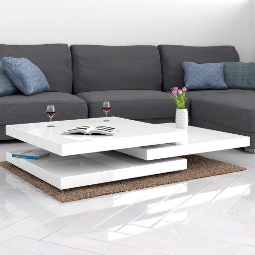 Table basse rotative New York 76x76cm - Blanc laqué