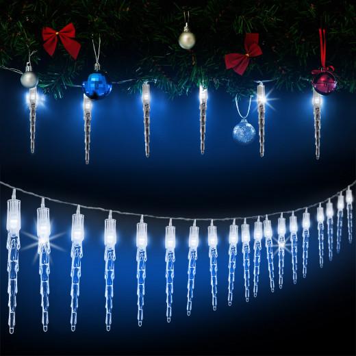 Lichterkette Weihnachten Eiszapfen 80 LEDs 13m Blau