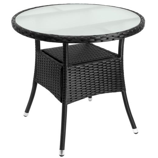 Table en polyrotin surface ronde à~ 80cm noir verre balcon jardin table d'appoint