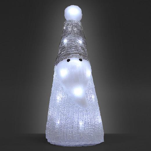 Figurine lumineuse LED acrylique décoration de Noël - Pêre Noël blanc