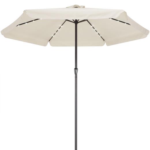 Parasol aluminium crême 3,3m Athênes éclairage 24 LED protection soleil jardin