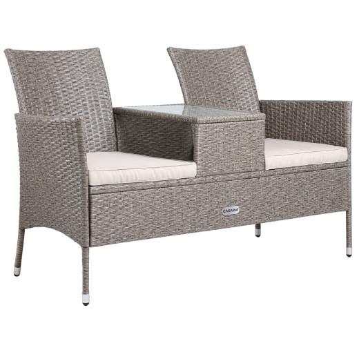 Bequeme Gartenbank mit Tisch in Grau aus pflegeleichtem Polyrattan für Ihr Zuhause. Jetzt versandkostenfrei bestellen bei DeubaXXL.