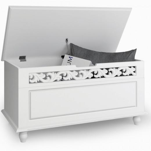 Coffre Jersey blanche avec couvercle rabattable max. 100 kg