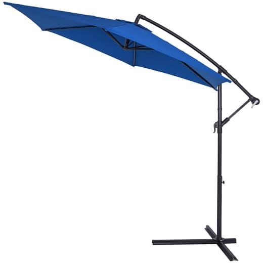 Parasol en alu Ø330cm bleu avec manivelle pour jardin plage