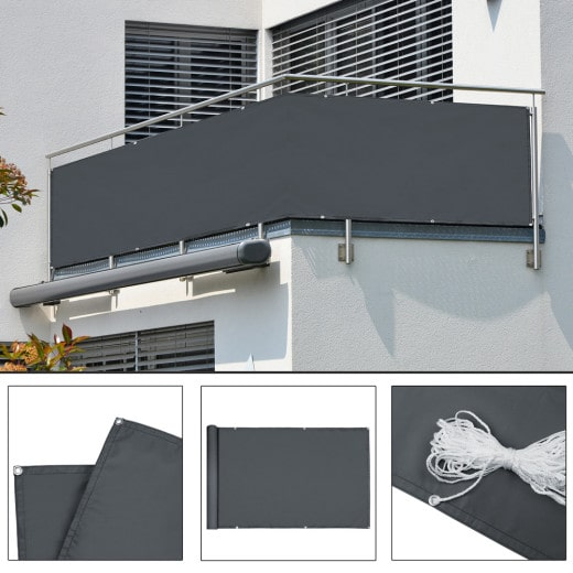 Paravent Brise vue - 500x90 cm - Brise vent Anti-Regards Cloture - anthracite