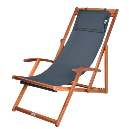 Chaise transat en bois d'acacia avec repose-tête - 3 niveaux - pliable