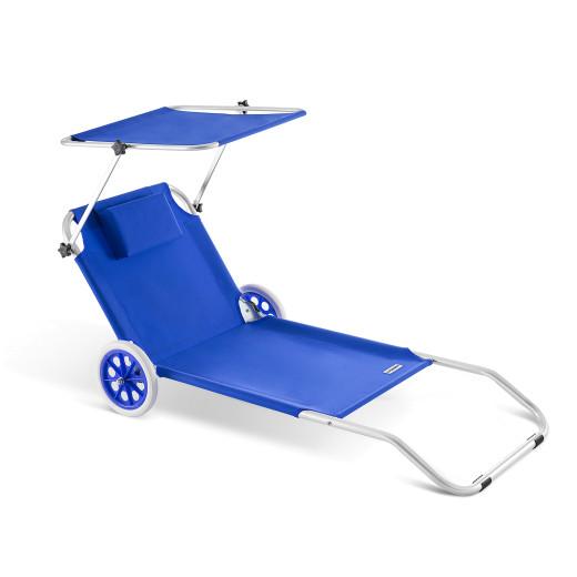 Chaise longue CRÊTE en aluminium avec pare soleil - Bleue