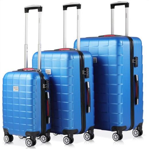 Set de 3 valises rigides bleu voyages rangement bagages vacances serrure