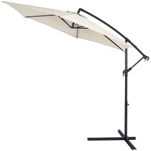 Parasol en aluminium crème 300cm Protection avec manivelle UV 40
