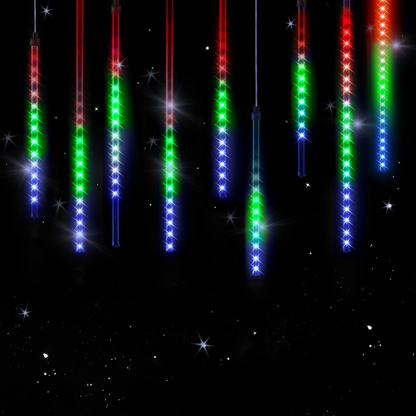 Guirlande lumineuse LED pluie d'étoiles - Coloré