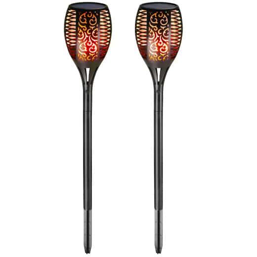 LED Solar-Gartenfackel 2er-Set Flammenlicht