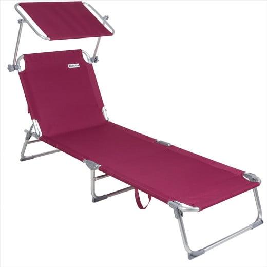 1xChaise longue Alu Ibiza - Pare soleil intégré réglable - Couleur rouge