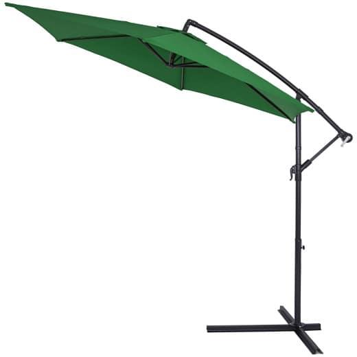 Parasol en alu - Jardin terrasse balcon - Pare soleil - Manivelle - à~ 300cm VERT