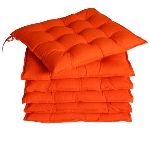 6x Coussins de chaise orange fibres creuses intérieur extérieur sièges