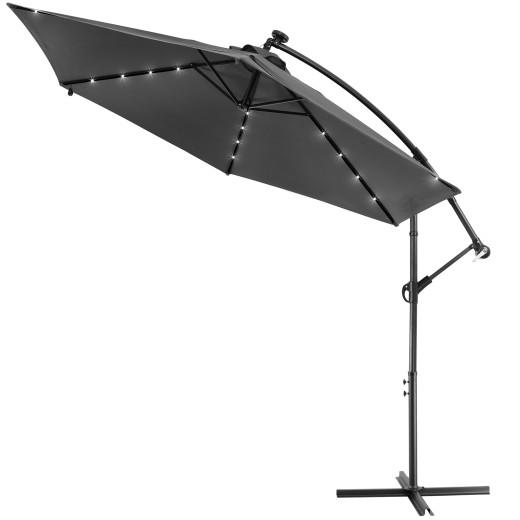 Parasol en aluminium 3m anthracite Haiti éclairage 24 LED protection soleil
