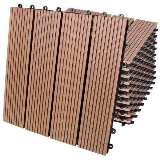 11x Dalles clipsables en bois composite WPC 30 x 30 cm classique terracotta