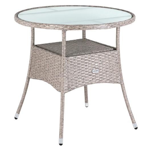 Table en polyrotin surface ronde Ø 80cm beige verre balcon jardin table d''appoint