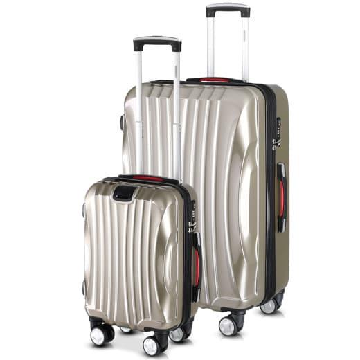 Set de 2 valises rigides Ikarus M/XL Champagne port USB