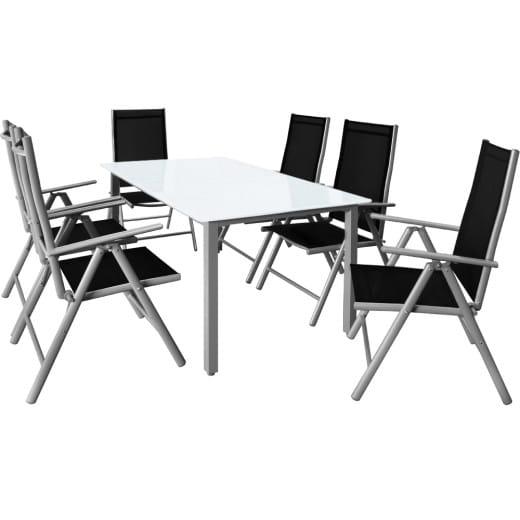 """Salon de jardin en alu """"Bern"""" table et chaises 7pcs"""