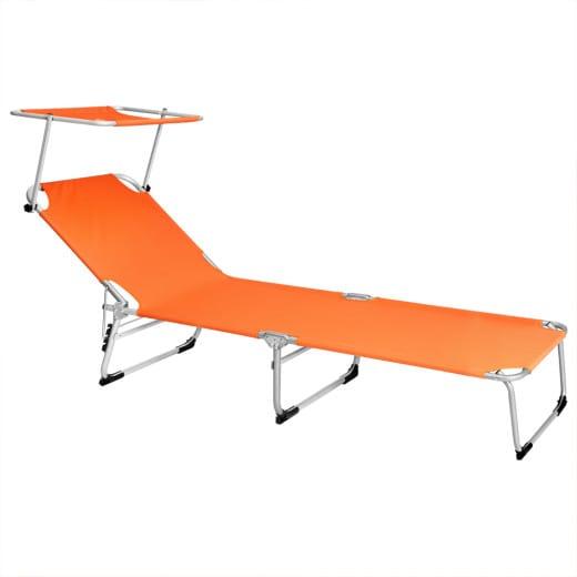 Chaise longue de jardin Transat Orange Pliable Pare-soleil - Bain de soleil