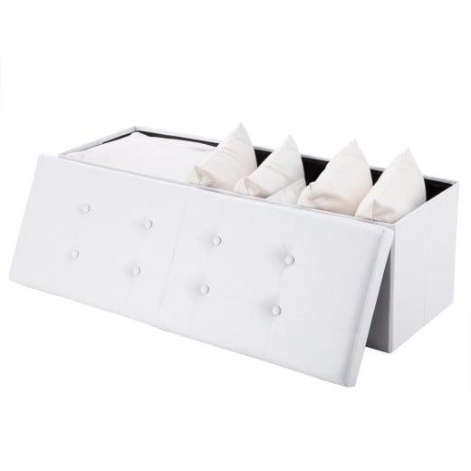 Sitzbank in Weiß mit Stauraum