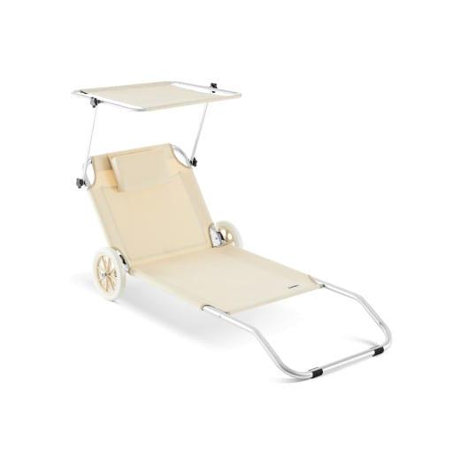 Chaise Longue Crête - Bain De Soleil Plage En Aluminium - Beige