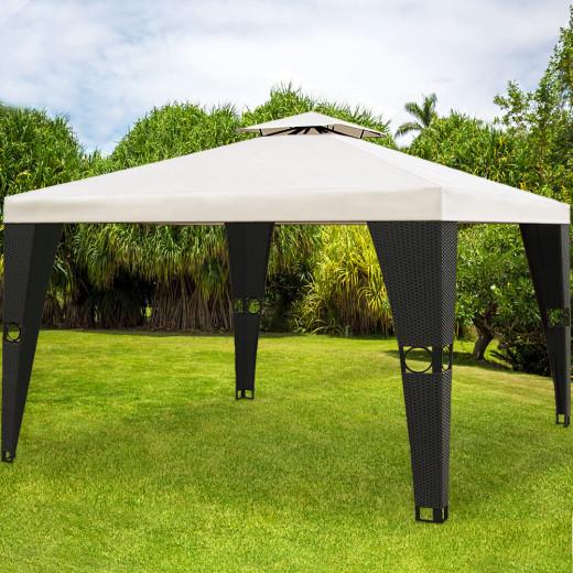 Polyrattan Pavillon 3x4m mit Dachhaube - 12m² überdacht