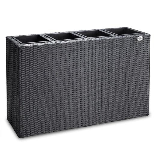 Bac à fleurs en polyrotin 4 compartiments Design élégant - 95 x 27 x 60 cm Noir