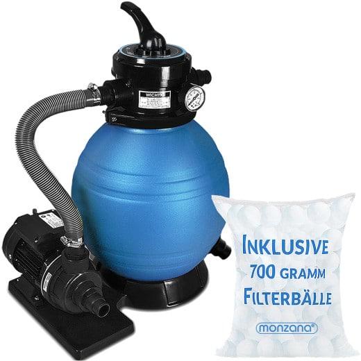 Pompe filtre à sable 10,2 m³ boules filtrantes 700g