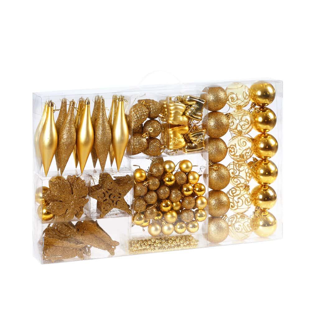 Lot de 102 décorations de noël - or