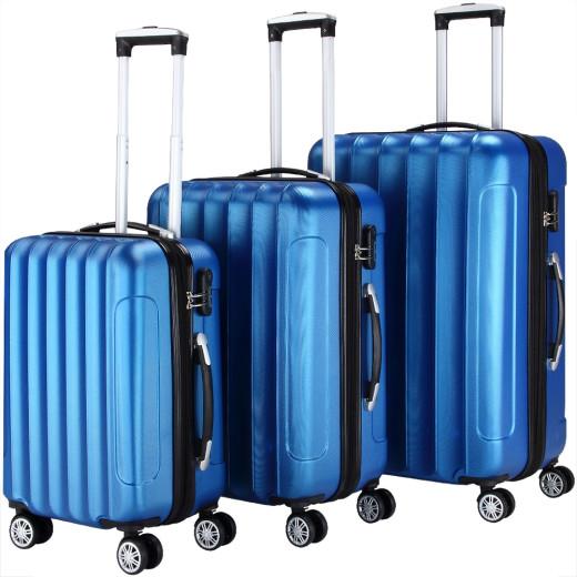 Ensemble Valise rigide Bleu - 3 x bagage serrure roulettes - voyage vacances