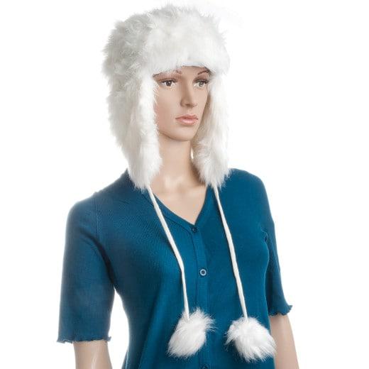 Bonnet chapka chapeau imitation fourrure avec pompons design - blanc