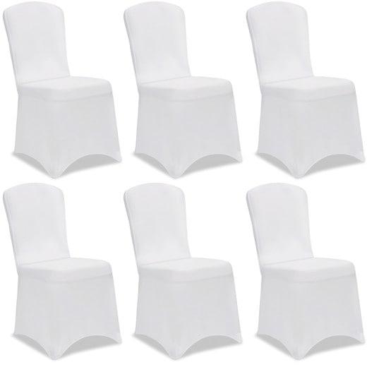6er-Set Stuhlhusse in Weiß