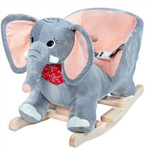Schaukeltier Elefant Grau mit Sicherheitsgurt