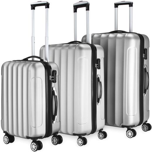 Ensemble Valise rigide Argent - 3 x bagage serrure roulettes - voyage vacances