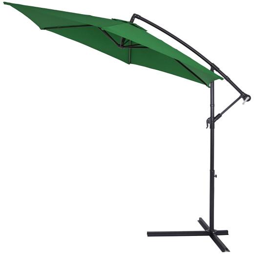 Parasol en aluminium Vert à~ 300cm Protection UV 30 Manivelle Jardin terrasse